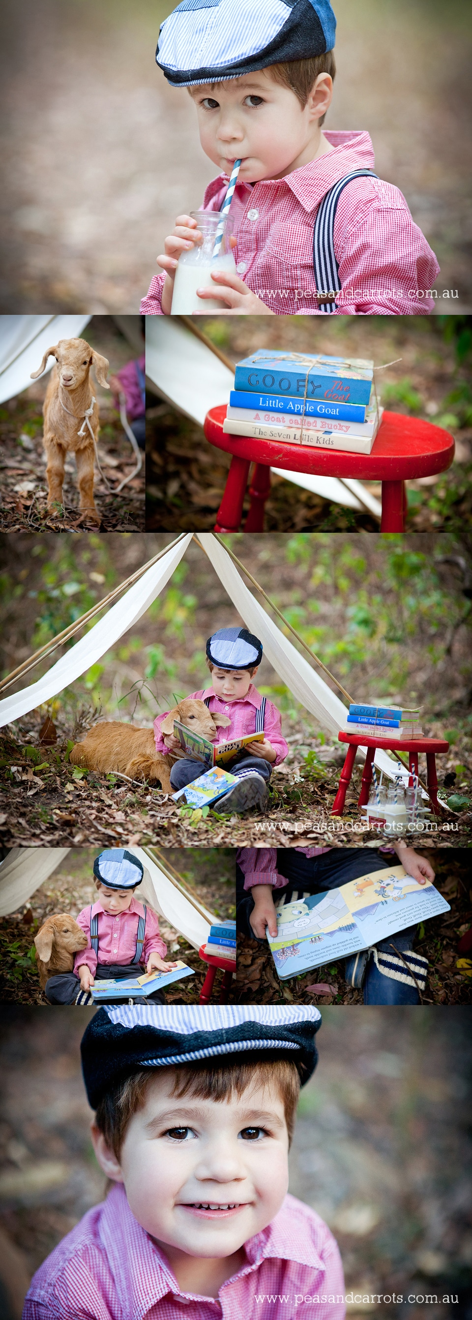 Dayboro, Samford and Brisbane Baby, Children & Family Portrait Photography ~ Peas & Carrots Photography ~ Ari & Snoop the Goat have a milkshake picnic and reading goat books together.