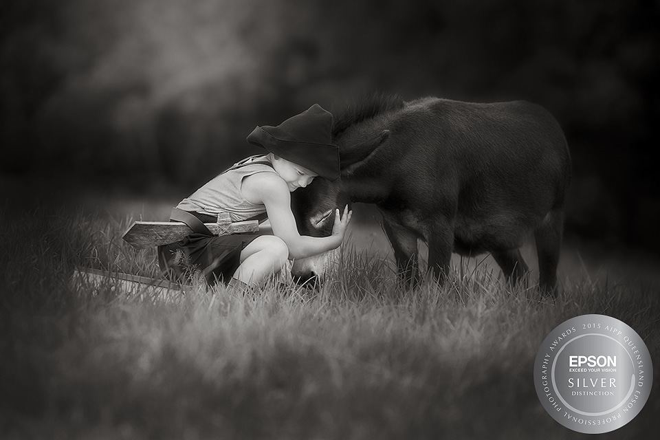 Childrens Photographer Brisbane, AIPP Awards 2015 Silver with Distinction for photo of Mr Pinkerton the miniture donkey.  Boy and donkey hugging cuddling each other.  Brisbane, Dayboro and Samford Baby, Children & Family Portrait Photography ~ Peas & Carro