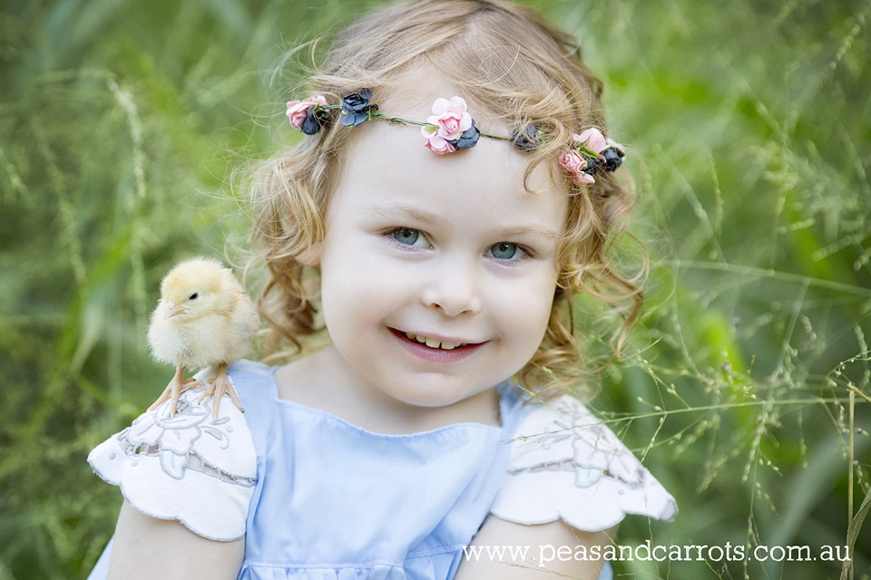 Brisbane Childrens Photography, Photographer Nikki Joyner for Peas & Carrots Photography captures whimsical and unique images of childhood moments, colourful and fun photographs.  Miss Eden with her baby chickens just one day old and freshly hatched from