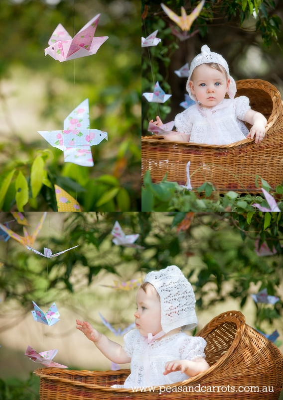 Brisbane Baby Photography, Mummy and Daughter portrait session 10 months old with paper baby birds hanging from the trees.  Childrens portrait photographer Nikki Joyner AIPP accredited professional photographer.  Brisbane, Dayboro and Samford Baby, Childr