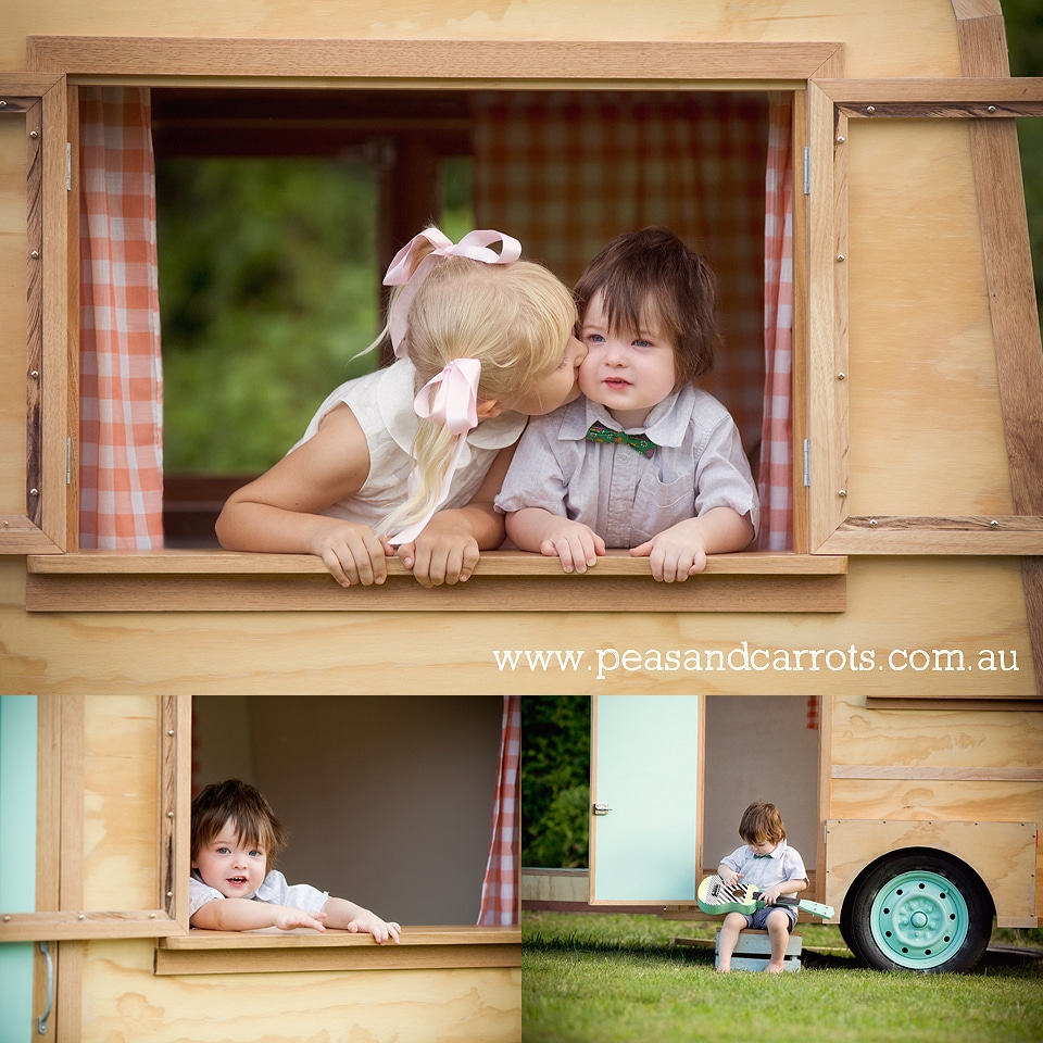 Brisbane Childrens Photography, Little Vintage Caravan Portrait Sessions Dayboro and Samford, Photographer Nikki Joyner captures whimsical and unique images of childhood AIPP accredited photographer.  Styled Photo sessions with the little vintage caravan named Louis, Brisbane Childrens Caravan Portrait Sessions to be held around the Dayboro and Samford areas.  Styled Childrens Photography sessions. Brisbane, Dayboro and Samford Baby, Children & Family Portrait Photography ~ Peas & Carrots Photography.  Award winning children