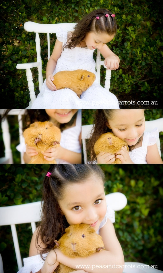 Childrens Photographer Brisbane Dayboro Samford whimsical images of children and animals at play, girl and pet guinea pig