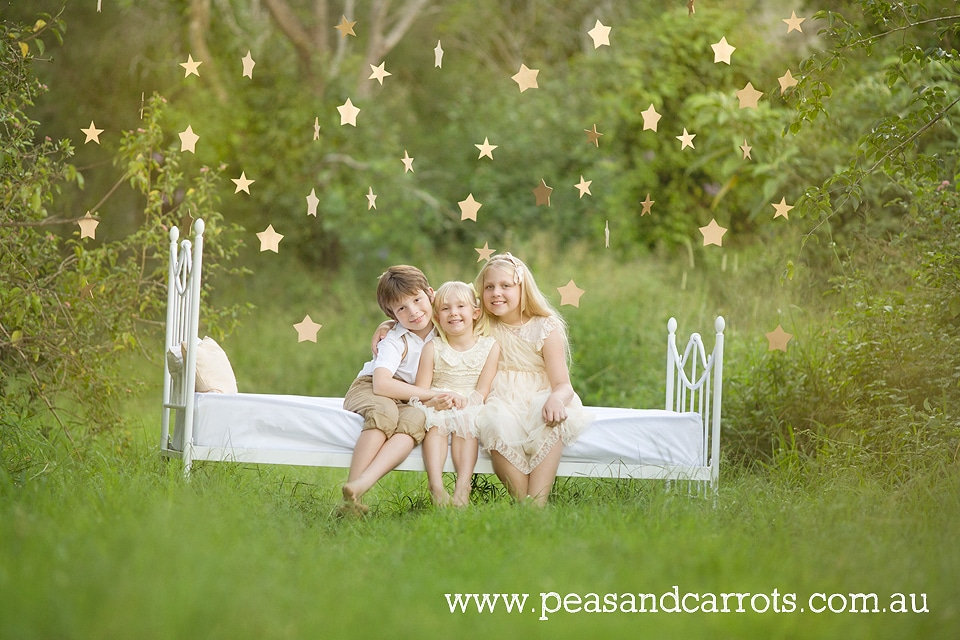 Brisbane Childrens Photography, Samford Childrens Photography, Dayboro Childrens Photography, Styled childrens portrait sessions Brisbane, Three gorgeous kids reaching for the golden stars in afternoon light, family photo session Brisbane, Brisbane, Daybor